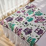 Ukeler Purple Owl Pattern Baby Blanket Kids' Bedding Quilt Bedspread Comforter, 100% Cotton Quilt, Machine Washable, 43''x51''