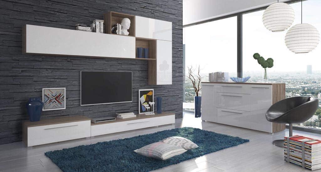 Parete Attrezzata Costanza Mobile Soggiorno Tv Con Colonna Vano A Giorno Con Mensola E Mobili Sospesi