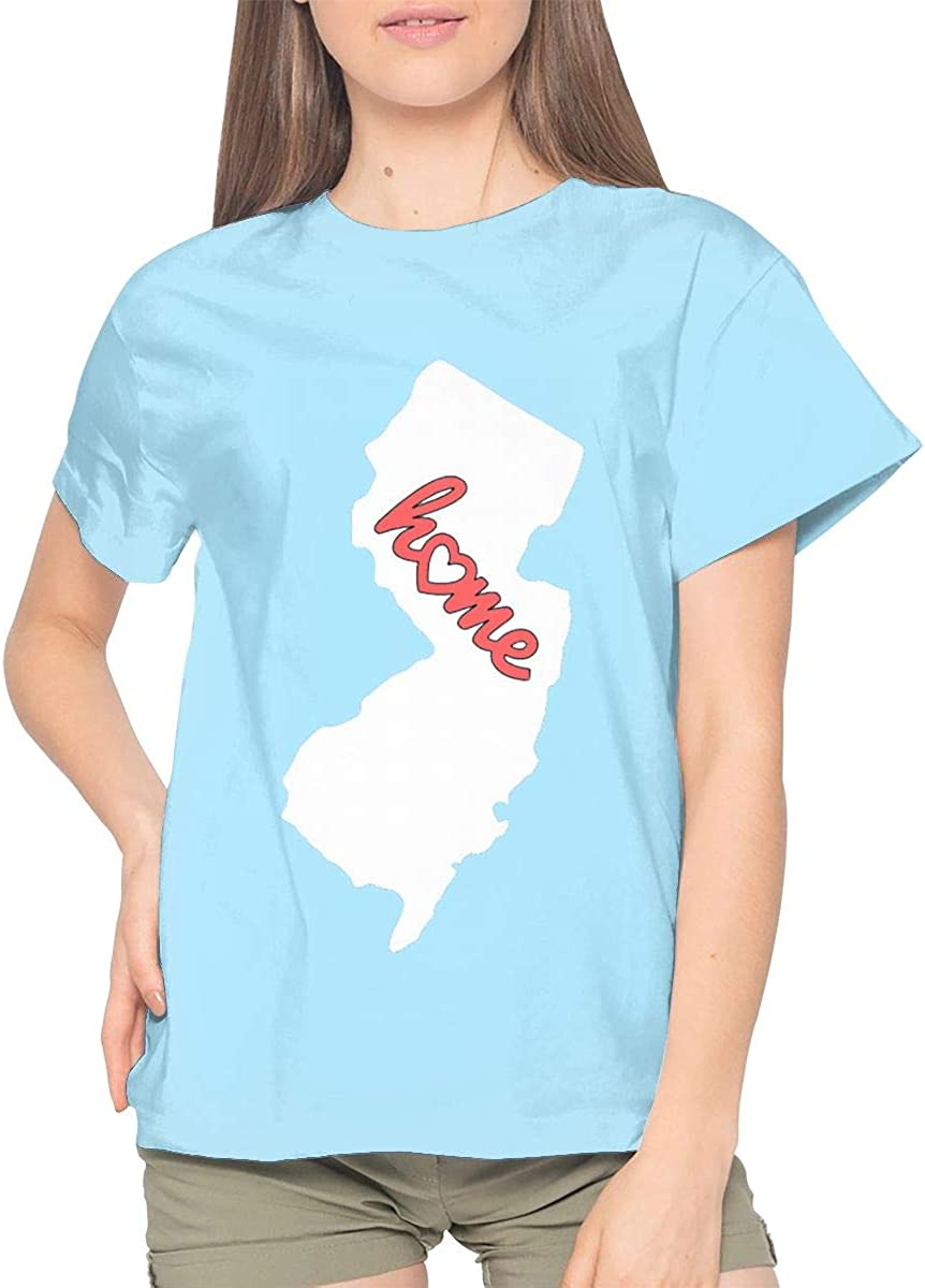 EVEKENNEDY New Jersey is My Home Woman Sky Blue Shirts Round Neck Short Sleeve Shirt for Womens