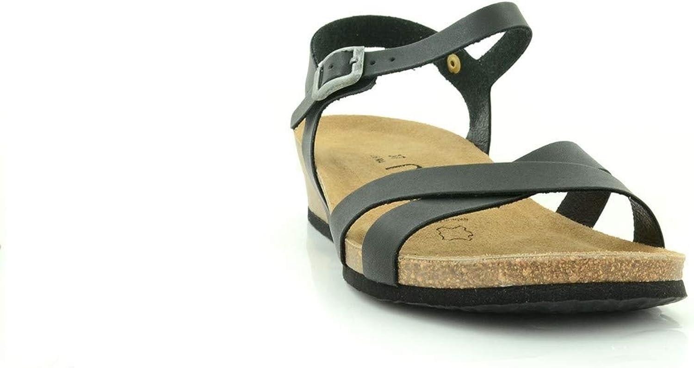NATUNED Sandalo a Fasce Incrociate con Cinturini Regolabili e Zeppa da Donna Art. CH11 Plantare in Lattice anatomico Comfort Oiled Burdeos