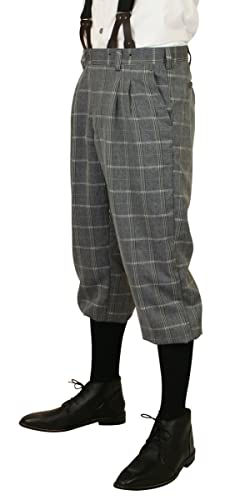 Men's 1900s Costumes: Indiana Jones, WW1 Pilot, Safari Costumes Harvey Plaid Knickers $64.95 AT vintagedancer.com