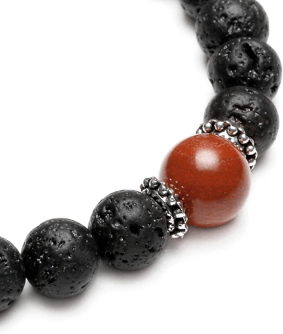 Damen in schwarz /& rot Herren Lavastein Armband mit Jaspis