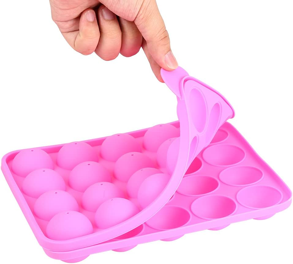 d1HhgJ Lollipop Silicone Baking Pan, 20 Cups, Silicone Tray Cake Lollipop Party Cake Baking Mold (Pink)