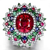 Women Fashion Jewelry 925 Sterling Silver Ruby Gem Wedding Bridal Ring Size 5-11#by pimchanok shop (9)