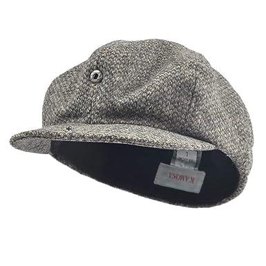 Janey Rubbins Vintage 8 Panel Gatsby Newsboy Cap - Tweed Herringbone 100% Wool  Flat Cap ( bff64ac2b23