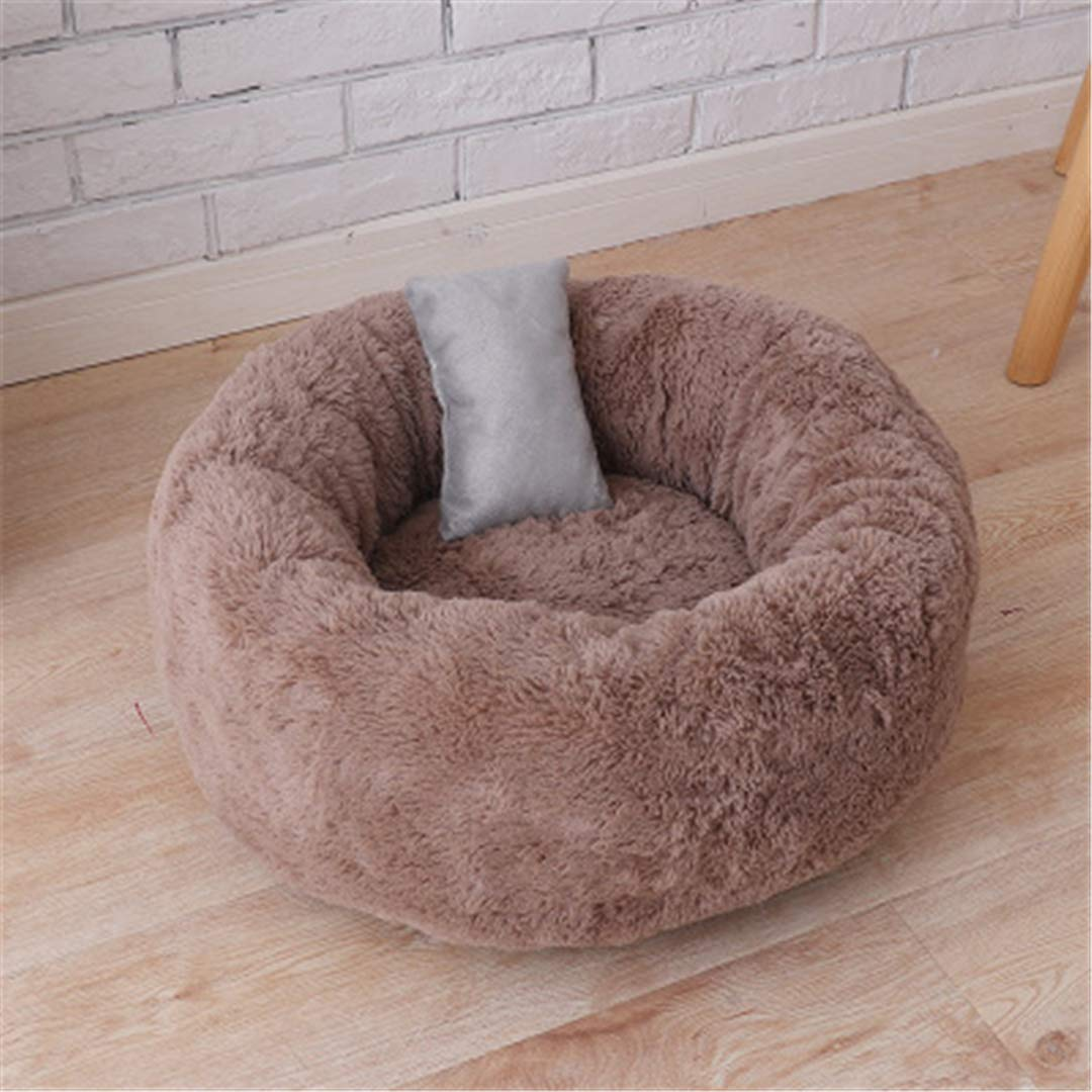 Coffee Long Plush Large Coffee Long Plush Large Winter Warm Long Plush Ped Bed Mat Faux Fur Round Cushion Bed for Small Dogs Cats Kennel Washable