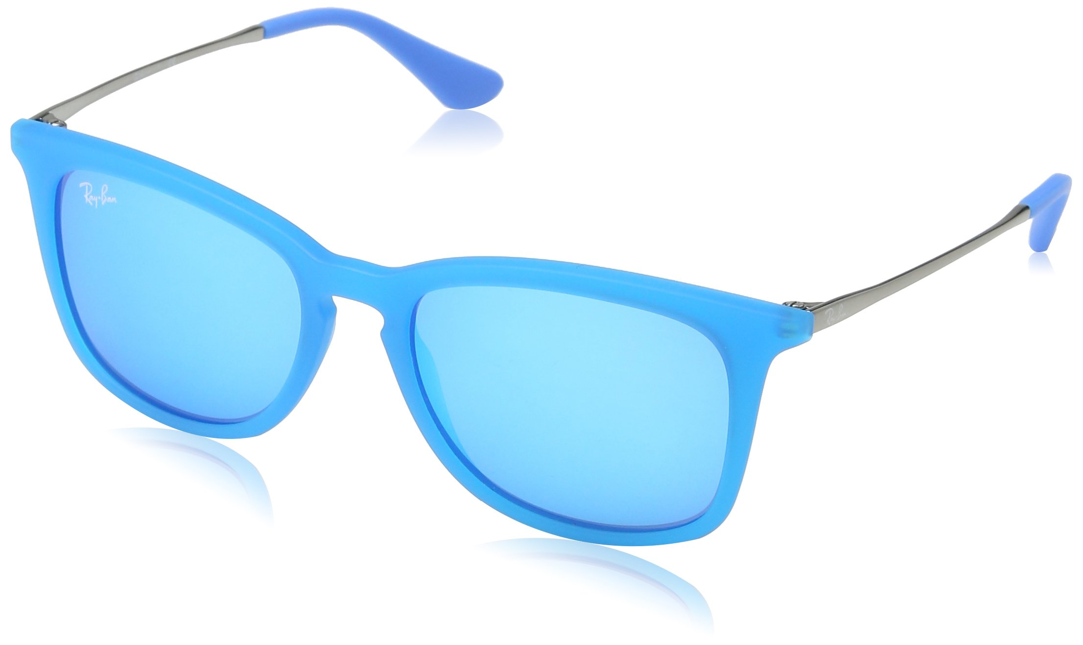 Ray-Ban Unisex-Child Injected Unisex Sunglass 0RJ9063S Square Sunglasses, Azure Fluo Trasp Rubber, 48 mm