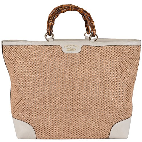 Gucci Women's Large Natural and Cream Straw Leather Bamboo Handle Tote (Large Gucci Bags)
