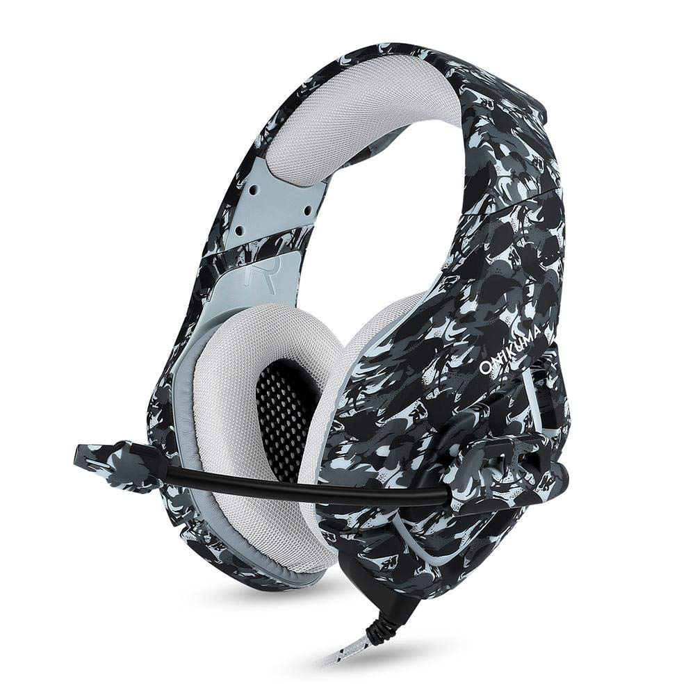 Aolvo ONIKUMA Gaming Headset 3.5mm Stereo Camouflage Gaming Headset Headphones with Noise Concelling Mic for Xbox One Mac PC PS4 Laptop Smartphone ipad
