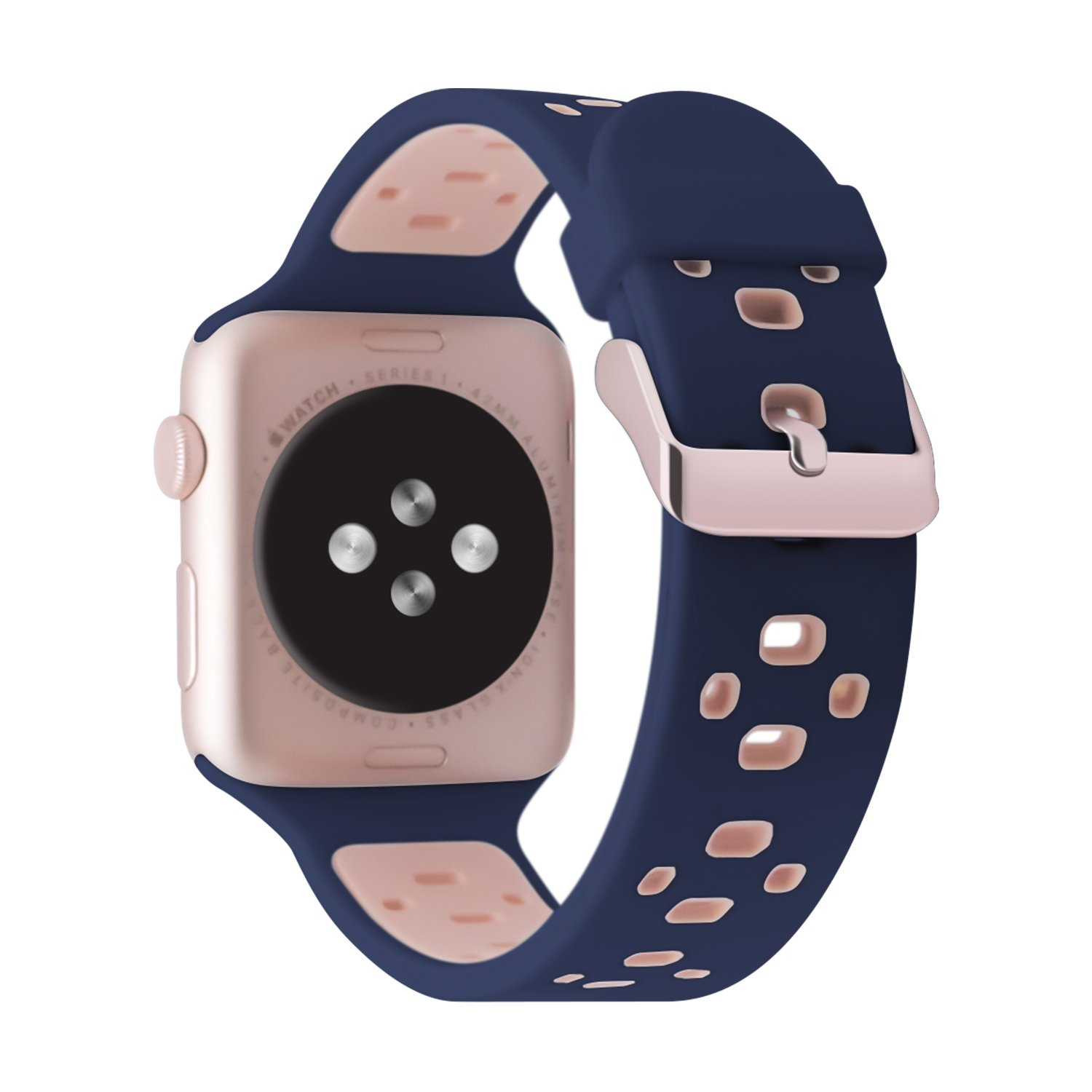 Apple Watch Series 3 band 38mm, iBazal Apple Watch Band Silicone Band Sport Band with FREE TPU Protective Case for 38mm Apple Watch Nike+, Series 3, Series 2, Series 1 (4-blue/pink 38)