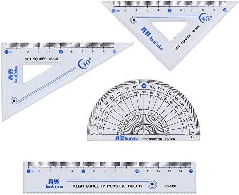 Messing mathematische Geometrie Set Retro Metall Wellenlineal und Dreiecks-Lineal Geometrie Standard Winkelmesser Dreieckskala Mathematik-Kit Student Supplies B/üro Winkelmessung Zubeh/ör