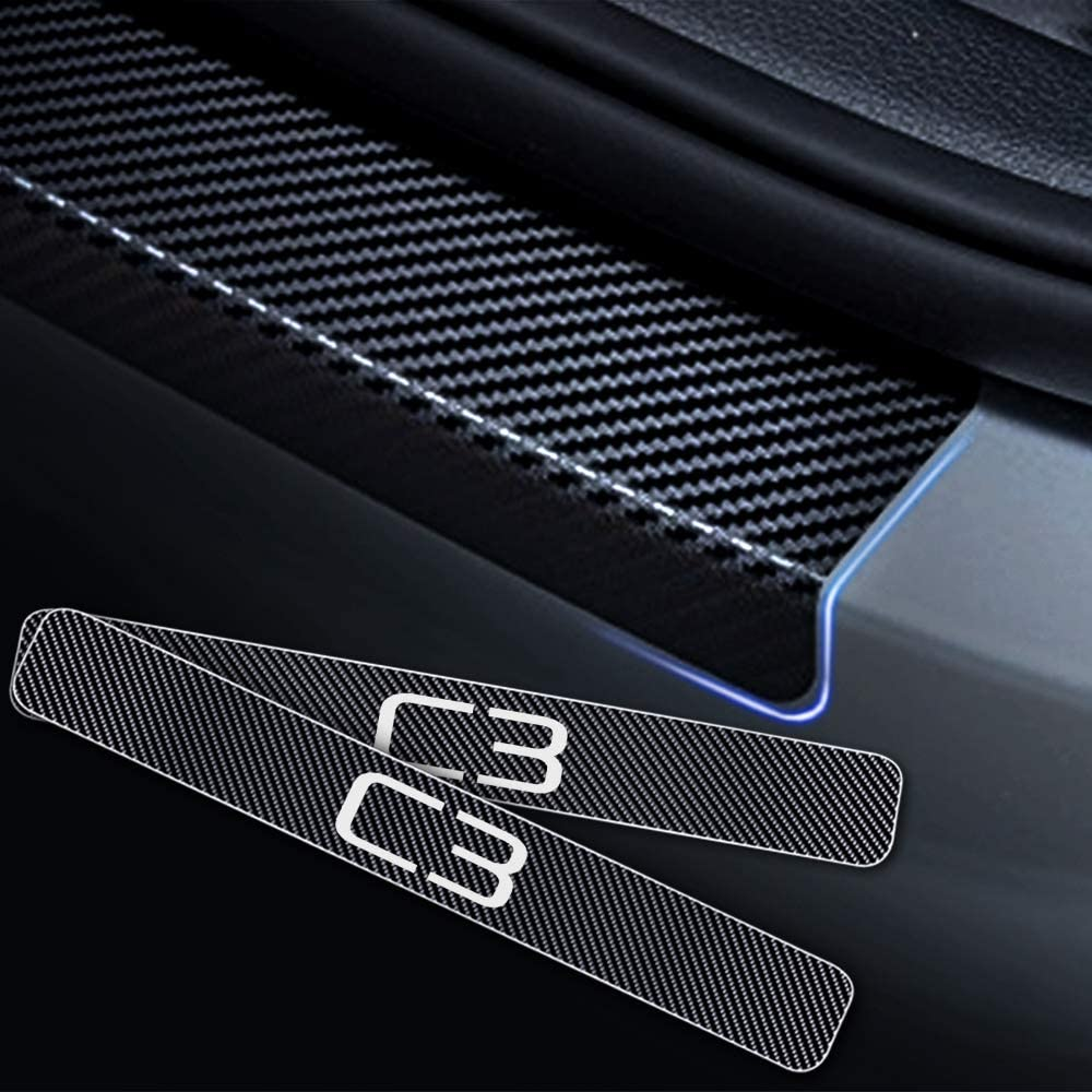 Per SPORTAGE 5D Battitacco per Auto Pedali Fibra di Carbonio Sticker Adesivi Auto Prevenzione dei Graffi 4 Pezzi Bianco