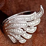 Sumanee Rhinestone Size 6-10 Women Ring Silver Plated Wing Shape Cubic Zirconia (10)