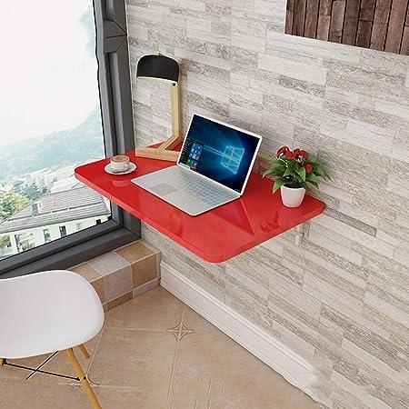 Gskd Bureau D Ordinateur Table Murale Rabattable Rouge Table De