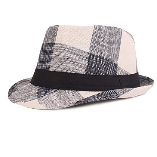 finest selection 5fcd4 f6279 Amazon.com  Yucode Spring and Summer Plaid Hats Jazz Hats Literary Youth Hat  Middle and Old Hat Black  Clothing