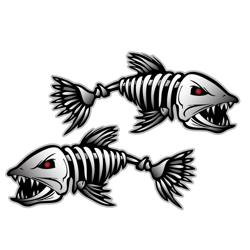 Skeleton Fish Bones Vinyl Decal Sticker Kayak Fishing Boat Car - Boat stickers and decals
