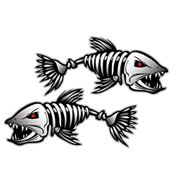 Pcs Skeleton Fish Vinyl Decals For Boat Fishing Graphics Stickers - Decals for boats canada