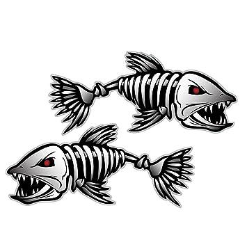 Pack Of Skeleton Fish Bones Vinyl Decal Sticker Kayak Fishing - Decals for boats canada