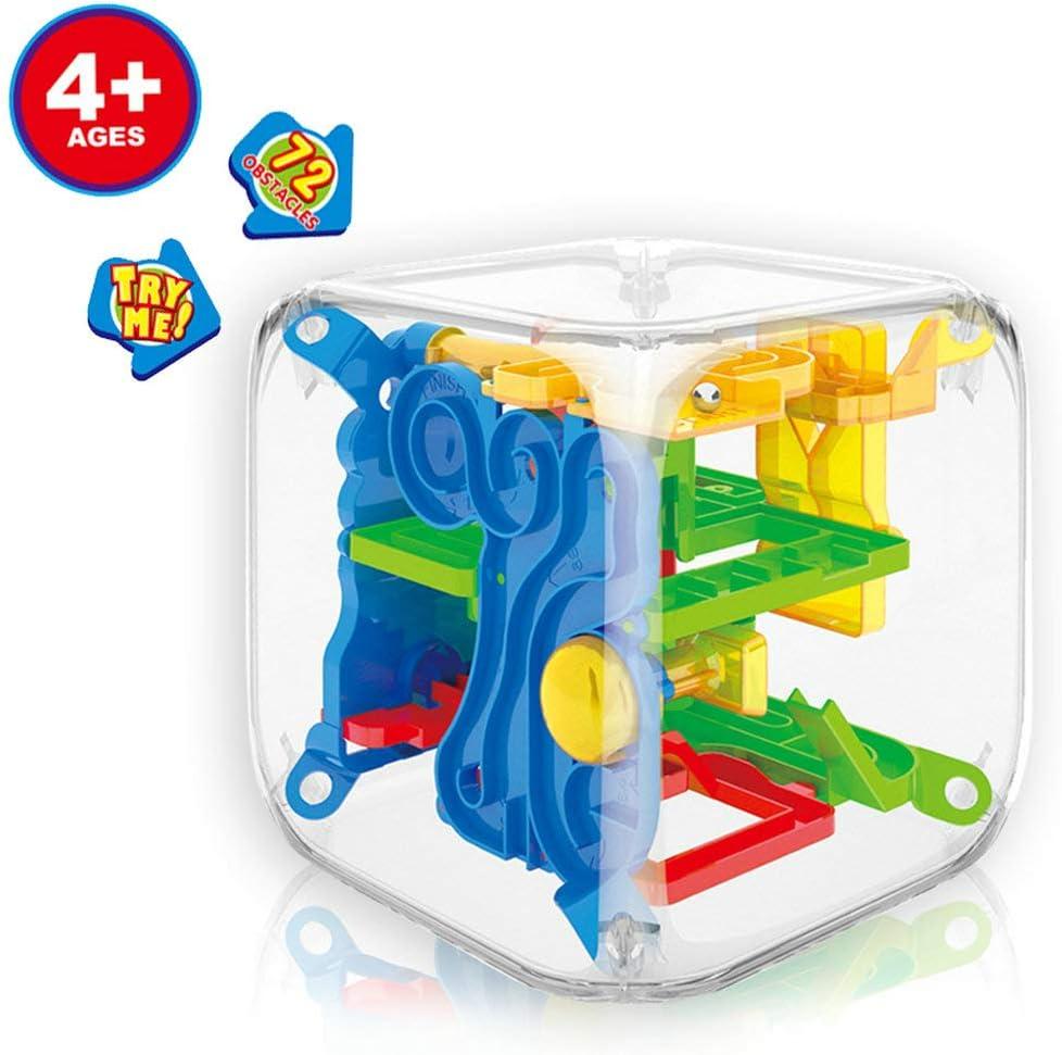 GuDoQi 3D Laberinto de Bolas de Juguete Puzzle, Juego de Rompecabezas Mágico 3D, Juego de Balance Laberinto Esférico con 72 Barreras Desafiantes Juguetes Educativos para Niños: Amazon.es: Juguetes y juegos