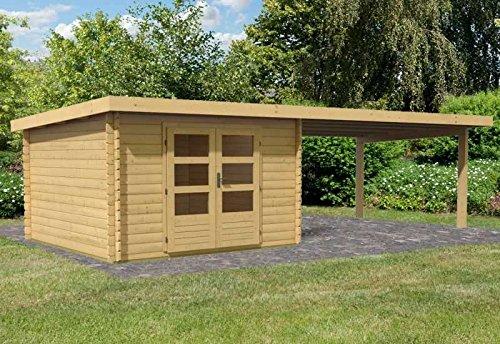 Karibu Woodfeeling Gartenhaus Bastrup 5 mit Schleppdach 4 Meter Außenmaß Haus (B x T): 297 x 297 cm Schleppdach: 400 cm Wände: keine Seiten- und Rückwand Dachstand (B x T): 714,5 x 333 cm Wandstärke: 28 mm Bauweise: Blockbohlenbauweise