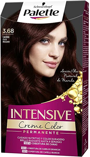 Schwarzkopf Palette Intensive Creme Color - Tono 3.68 cabello Caoba - Coloración Permanente de Cuidado con Aceite de Marula – Óptima cobertura de ...
