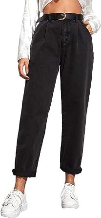 Amazon Com Shein Pantalones Vaqueros De Mujer Con Botones Y Pierna Recta Con Bolsillos Clothing