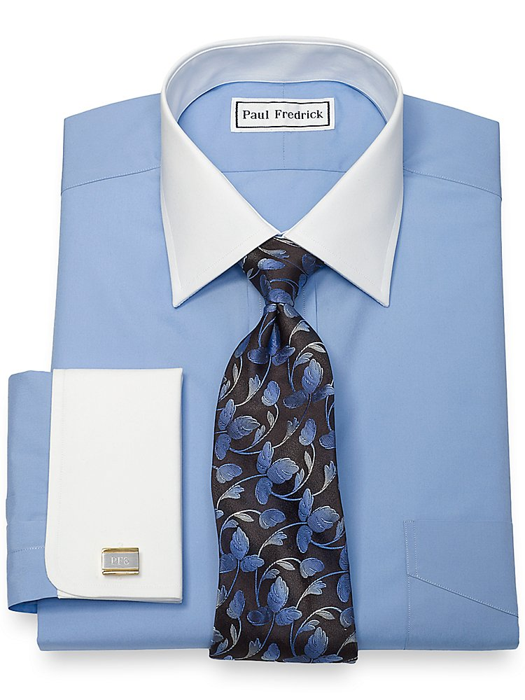 Paul Fredrick Men's Cotton Broadcloth White Windsor Spread Collar Dress Shirt Blue 20.0/37