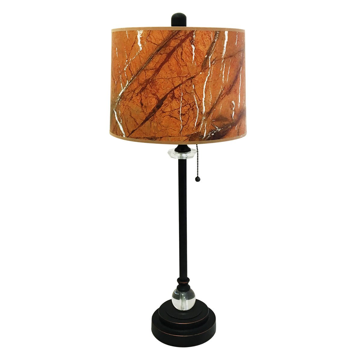 Royal Designs 28'' Crystal and Oil Rub Bronze Buffet Lamp with Orange Marble Texture Hardback Lamp Shade