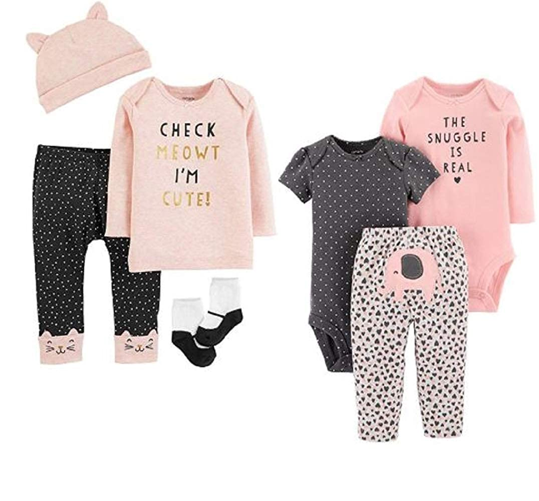 872c6c1db Amazon.com: Carters Baby Girls Gift Set: 3 pc Cotton Elephant Snuggle  Character Set and 4-pc.Meowt I'm Cute Layette Set 12 Months Pink: Clothing