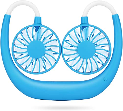 Simpeak Ventilador USB Mini, Mini Ventilador USB de Cuello Portátil para Oficina/Hogar/Viajar/Acampar - Azul: Amazon.es: Hogar
