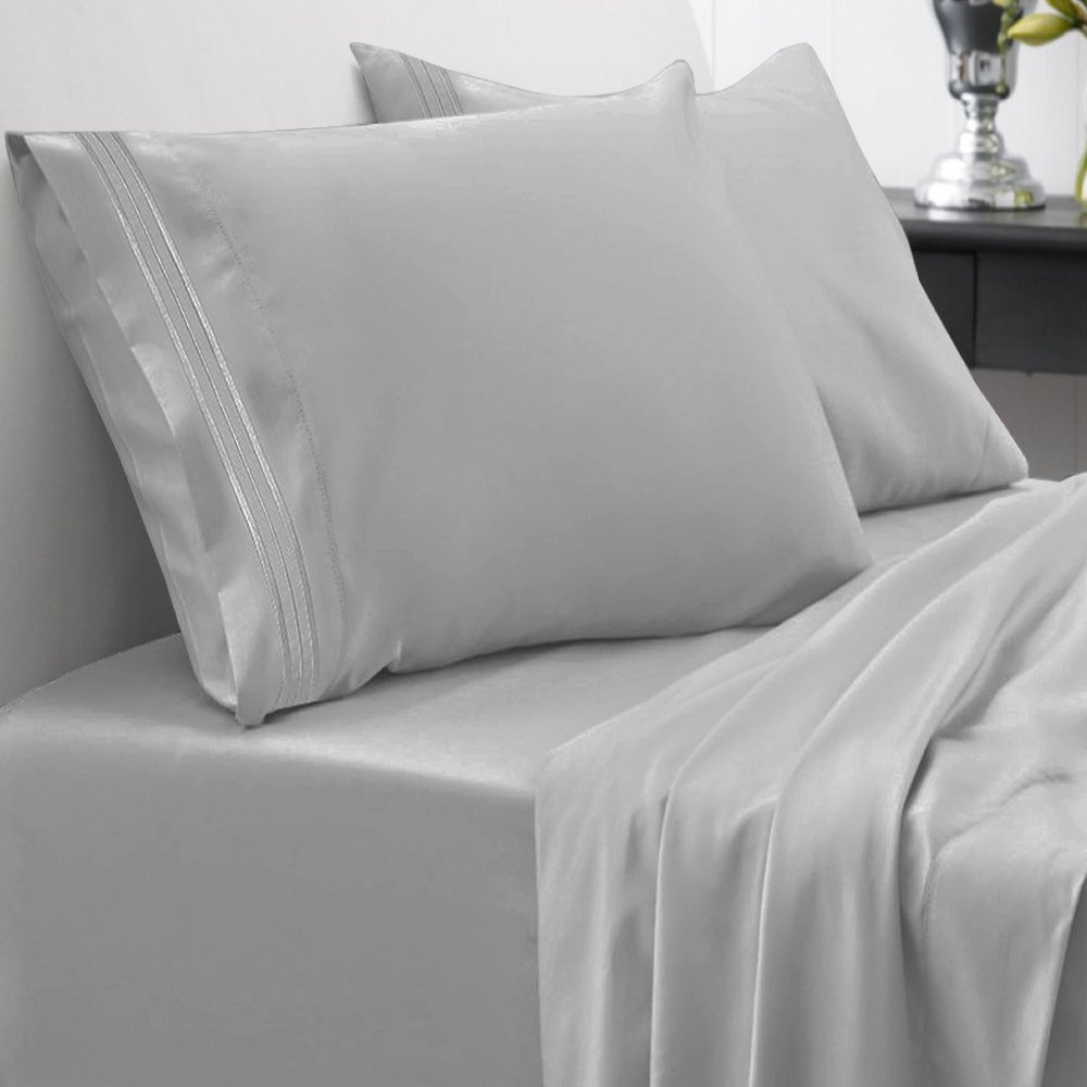 4 Piece Deep Pocket Bed Sheet Set, Full, Silver