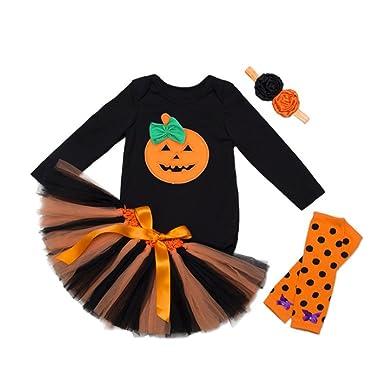 cab89aec5 WINZIK Newborn Baby Girls Outfits 4 Pcs/Set Halloween Party Pumpkin Pattern  Long Sleeve Romper Short Skirt Clothes Set