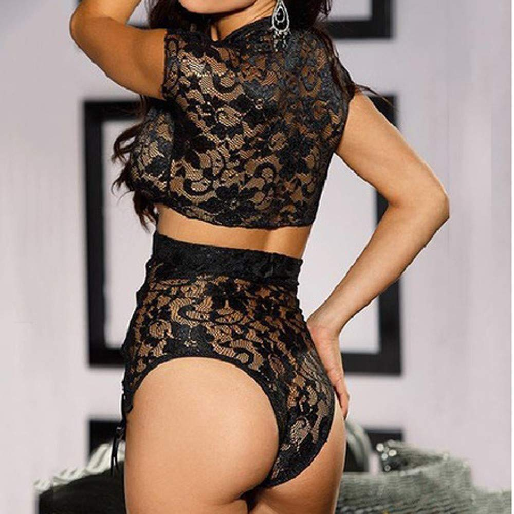 Womens Sexy 2PCS Underwear Lingerie Lace Perspective Bow Temptation Nightdress One Size (B) by Tanlo (Image #4)