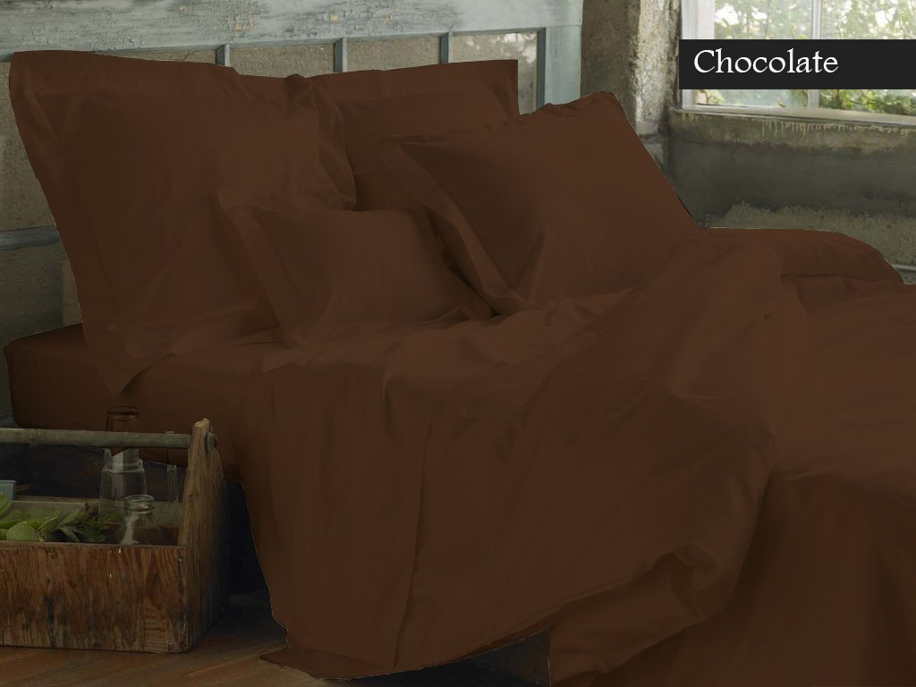 Top Selling Heavy Quality VGI Linen Hotel Collection Egyptian Cotton Sheets- Super Soft 1500-TC 4-PCs Sheet Set With 22'' Inch Deep Pocket, Solid Pattern ( King, Chocolate ) by VGI Linen (Image #4)