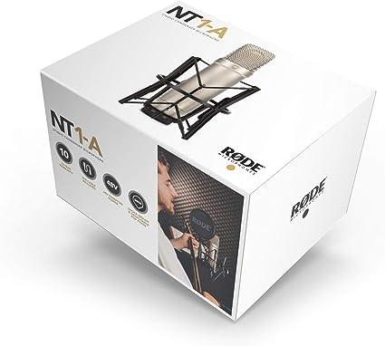 Rode NT1-A - Micrófono de Diafragma Grande para Estudios de Grabación, color Plateado.
