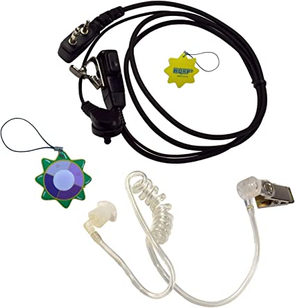 2-Pack HQRP 2Pin Acoustic Tube Headset Earpiece PTT Mic for Kenwood Radio Device