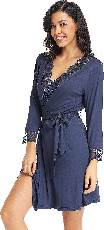 Ritera Mujeres Kimono con Cinturón Batas Algodón Ligero Bata Corta Tejido Albornoz Ropa de Dormir Suave con Cuello en V para baño SPA, M-XXL: Amazon.es: Ropa y accesorios