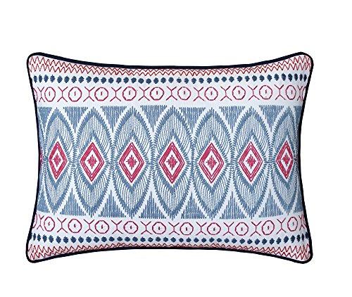 (LUX-BED 1 Piece Grove Garden NEW!! 100% Cotton 200 Thread Count Aztec Kilim 12x18 Decorative Pillow Navy )
