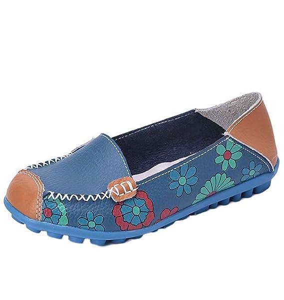 LuckES Mocasines Planos Para Mujer,Zapatillas de verano para mujer Casual de Cuero de Mujer