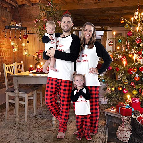 53206c8357 Timall Merry Christmas Sleepwear Family Matching Pajamas Sets Plaid Long  Sleeve Tops and Pants Warm Clothes