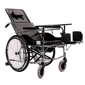 Guo olla de acero suspendida alto el pie trasera tumbado Scooter extraíble en silla de ruedas manual personas mayores: Amazon.es: Salud y cuidado personal
