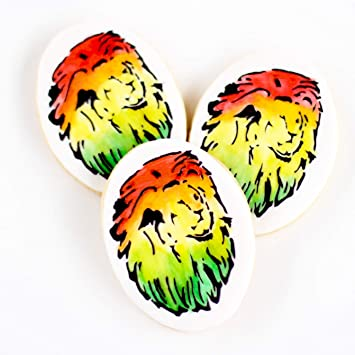 cf38a3d6857 Amazon.com   ½ Dz. Rasta Lion Cookies! Symbol of Jamaican Culture ...