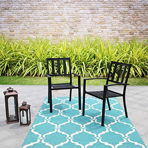 PHI VILLA Metal Patio Outdoor Dining Chairs Set of 2 Stackable Bistro Deck Chairs for Garden Backyard Lawn Support 300LB, Black