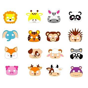 ED-Lumos Máscaras para niños Forma Animal Material Goma Eva 16 Piezas para Fiestas de