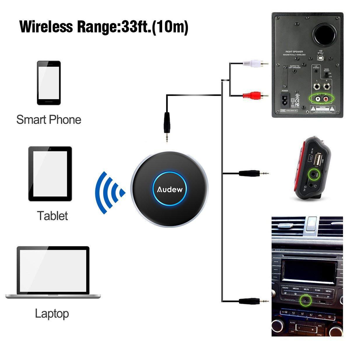 Audew B-luetooth Empf/änger B-luetooth Adapter Transmitter 4.1 Mini Audio Musik Adapter Drahtloser mit Stereo 3.5 mm Aux Input f/ür Handy,Lautsprecher,Auto-Player