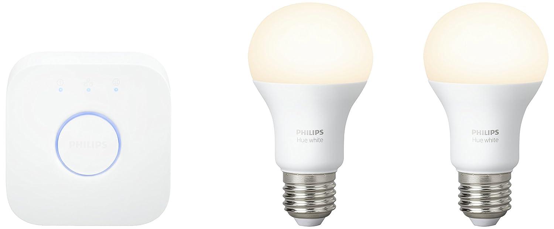 Philips Hue White - Kit de 2 bombillas LED E27 y puente, 9,5 W, iluminación inteligente, luz blanca cálida regulable, compatible, Apple HomeKit y Google Home