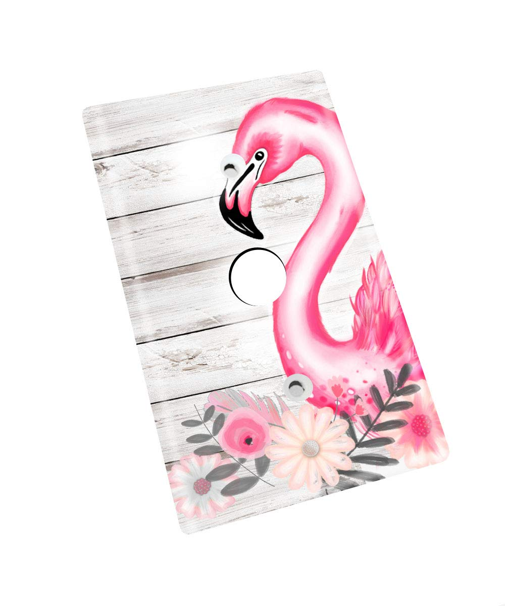 Pretty Bright Pink Flamingo floral Kids Nursery Bedroom Single Light Switch Cover LS0101 single outlet
