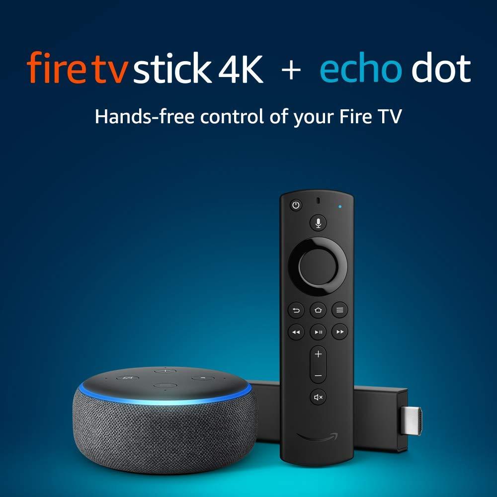 Fire TV Stick 4K bundle with Echo Dot (3rd Gen - Charcoal)