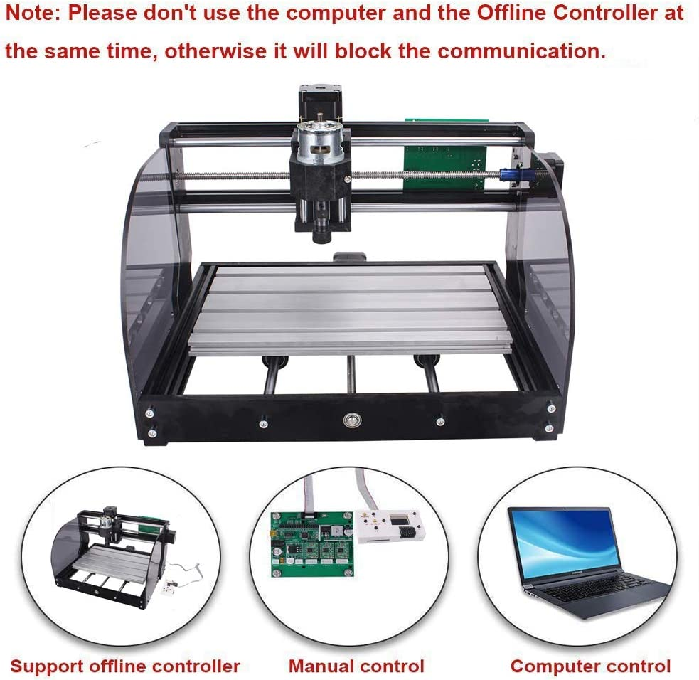 3018 PRO M Wood Router Engraver with Offline Controller CNC 3018 Pro-M GRBL Control DIY CNC Machine 3 Axis PCB Milling Machine with ER11 5mm Extension Rod and 20PCS 3.175MM CNC Router Bits