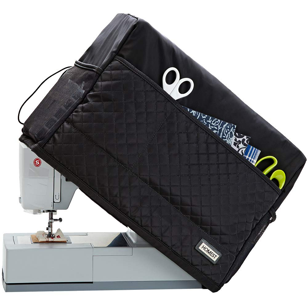 HOMEST Visible Sewing Machine Dust Cover with Storage Pockets for Notions Compatible with Singer Quantum Stylist 9960 Grey Singer Heavy Duty 4423 Patent Pending